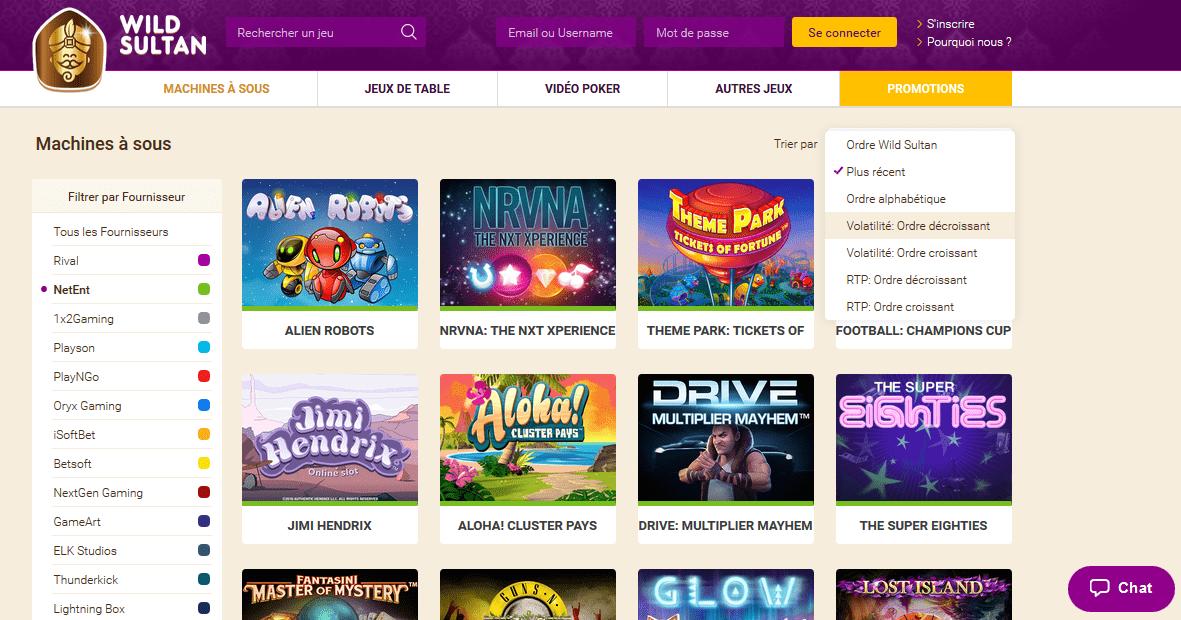 plus de 700 jeux de casino disponibles