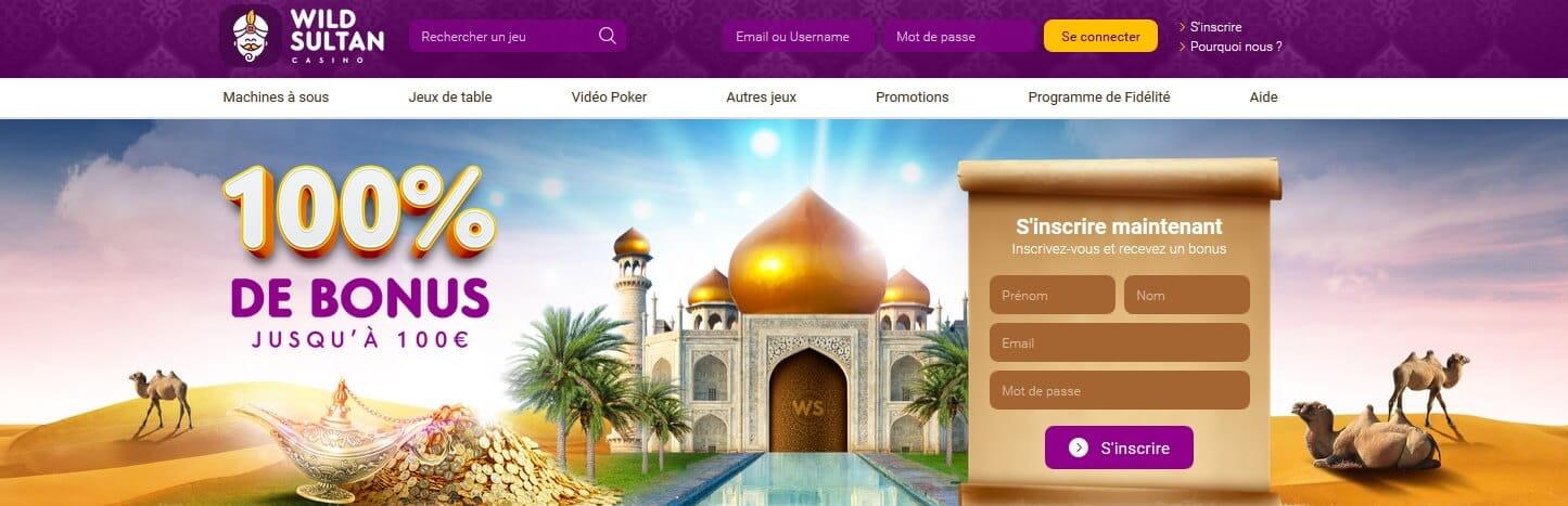 Accueil du casino en ligne et offre bonus de WildSultan